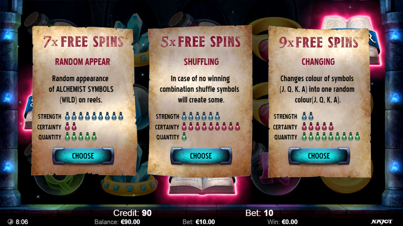 ALCHEMY Freespins choose