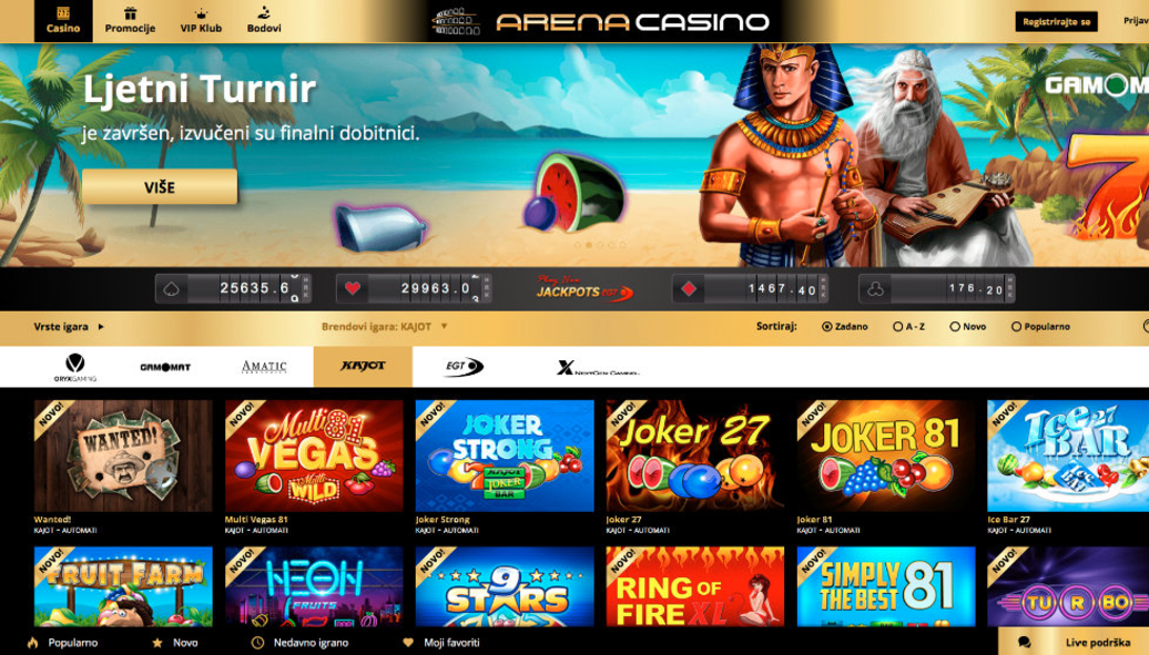 Kajot Games live at ArenaCasion thumbnail