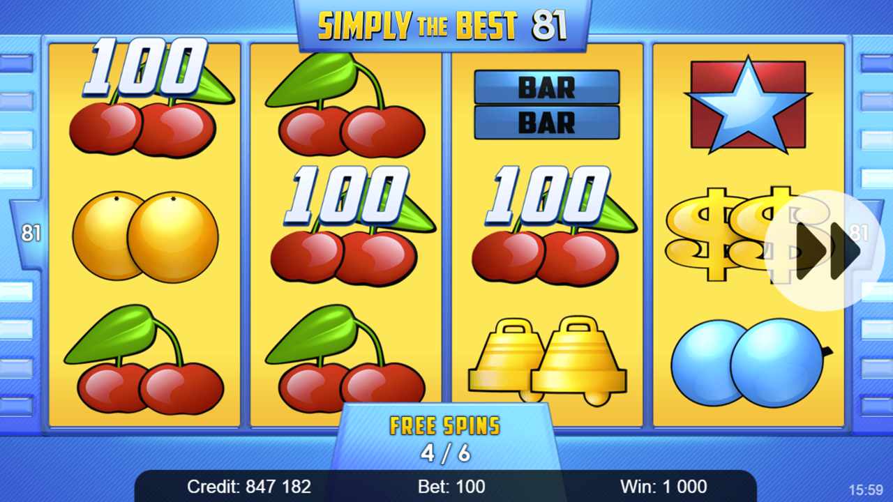 SIMPLY THE BEST 81 Free spins win